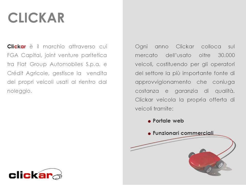 CLICKAR Clickar è il marchio attraverso cui FGA Capital, joint venture paritetica tra Fiat Group Automobiles S.p.a. e Crédit Agricole, gestisce la ven