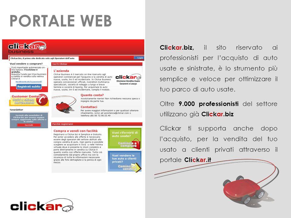 Clickar.biz, il sito riservato ai professionisti per lacquisto di auto usate e sinistrate, è lo strumento più semplice e veloce per ottimizzare il tuo