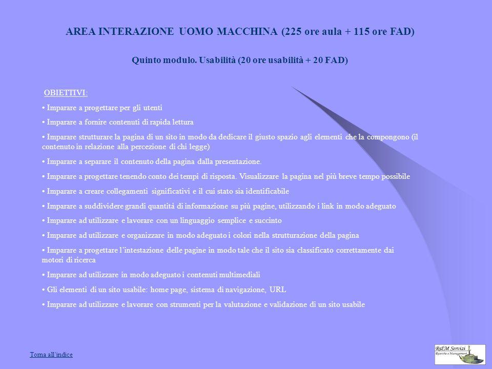 AREA INTERAZIONE UOMO MACCHINA (225 ore aula + 115 ore FAD) Quinto modulo.