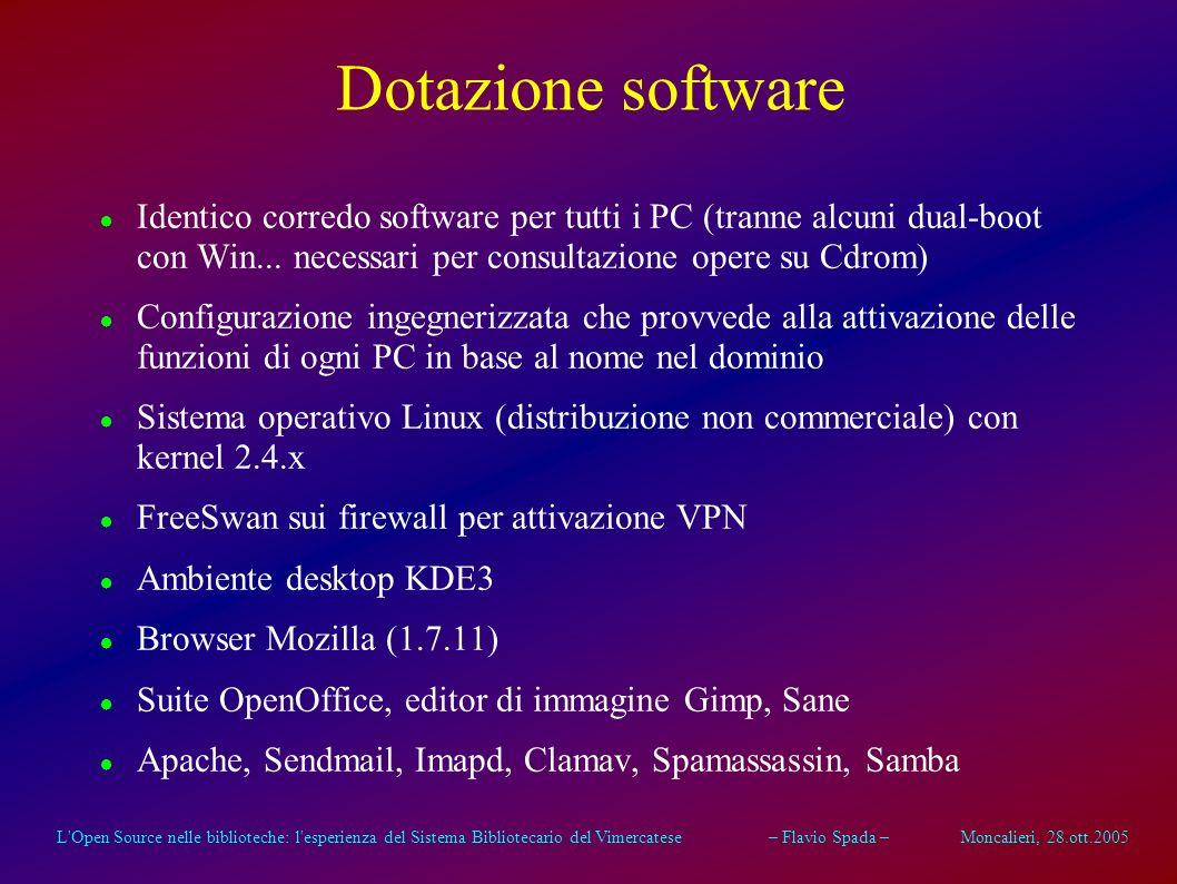 L'Open Source nelle biblioteche: l'esperienza del Sistema Bibliotecario del Vimercatese – Flavio Spada – Moncalieri, 28.ott.2005 Dotazione delle sedi