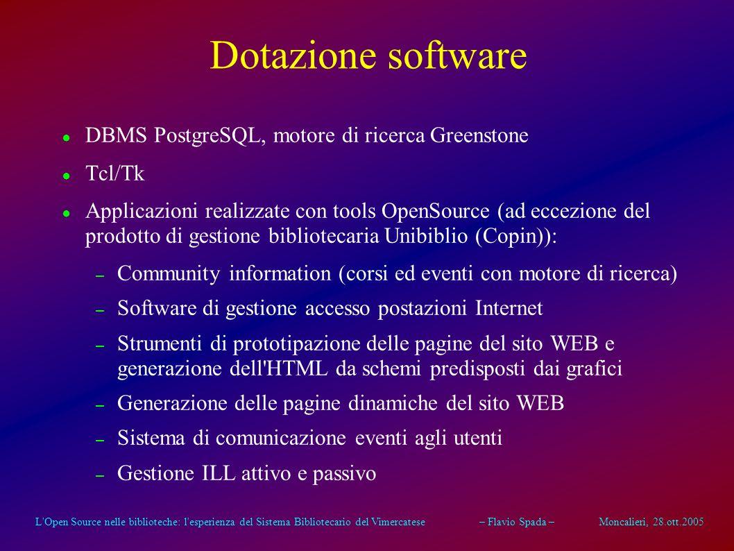 L'Open Source nelle biblioteche: l'esperienza del Sistema Bibliotecario del Vimercatese – Flavio Spada – Moncalieri, 28.ott.2005 Dotazione software Id