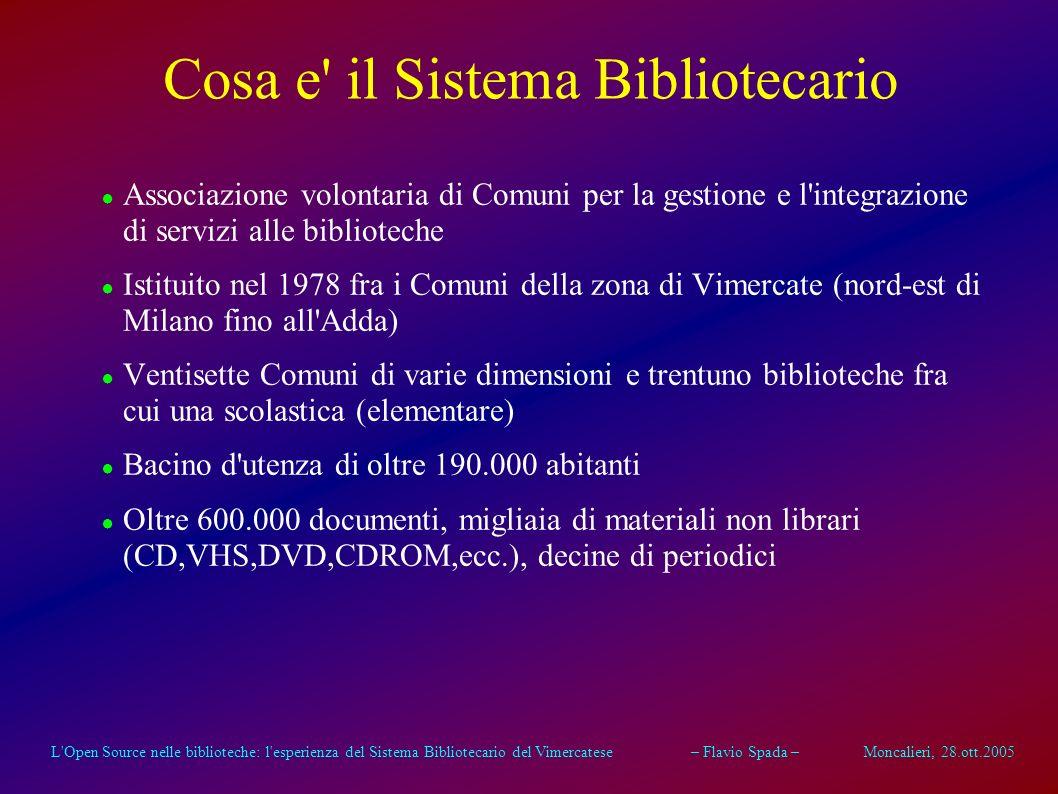 L'Open Source nelle biblioteche: l'esperienza del Sistema Bibliotecario del Vimercatese – Flavio Spada – Moncalieri, 28.ott.2005 L'Open Source nelle b