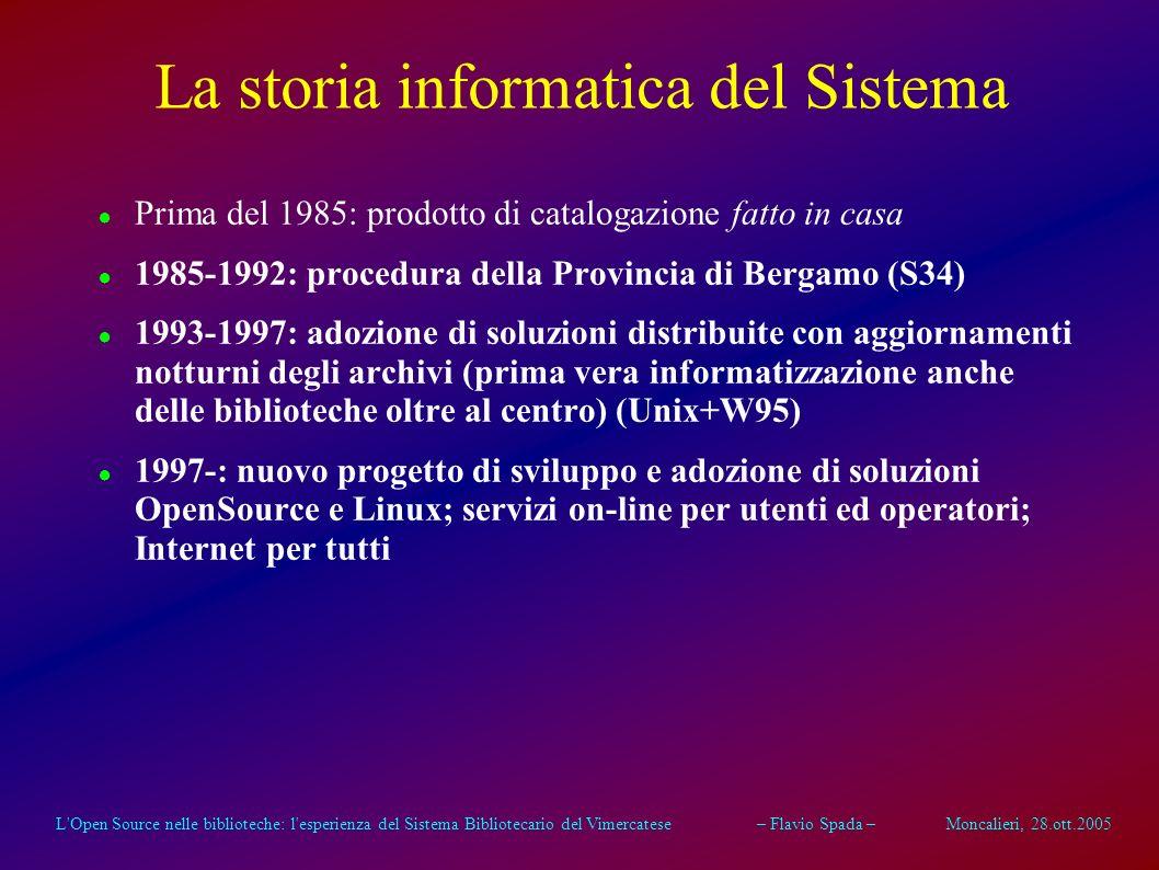 L Open Source nelle biblioteche: l esperienza del Sistema Bibliotecario del Vimercatese – Flavio Spada – Moncalieri, 28.ott.2005 La storia informatica del Sistema Prima del 1985: prodotto di catalogazione fatto in casa 1985-1992: procedura della Provincia di Bergamo (S34) 1993-1997: adozione di soluzioni distribuite con aggiornamenti notturni degli archivi (prima vera informatizzazione anche delle biblioteche oltre al centro) (Unix+W95) 1997-: nuovo progetto di sviluppo e adozione di soluzioni OpenSource e Linux; servizi on-line per utenti ed operatori; Internet per tutti