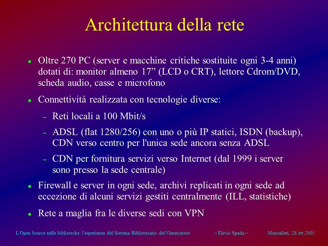 L Open Source nelle biblioteche: l esperienza del Sistema Bibliotecario del Vimercatese – Flavio Spada – Moncalieri, 28.ott.2005 Architettura della rete Oltre 270 PC (server e macchine critiche sostituite ogni 3-4 anni) dotati di: monitor almeno 17 (LCD o CRT), lettore Cdrom/DVD, scheda audio, casse e microfono Connettività realizzata con tecnologie diverse: – Reti locali a 100 Mbit/s – ADSL (flat 1280/256) con uno o più IP statici, ISDN (backup), CDN verso centro per l unica sede ancora senza ADSL – CDN per fornitura servizi verso Internet (dal 1999 i server sono presso la sede centrale) Firewall e server in ogni sede, archivi replicati in ogni sede ad eccezione di alcuni servizi gestiti centralmente (ILL, statistiche) Rete a maglia fra le diverse sedi con VPN