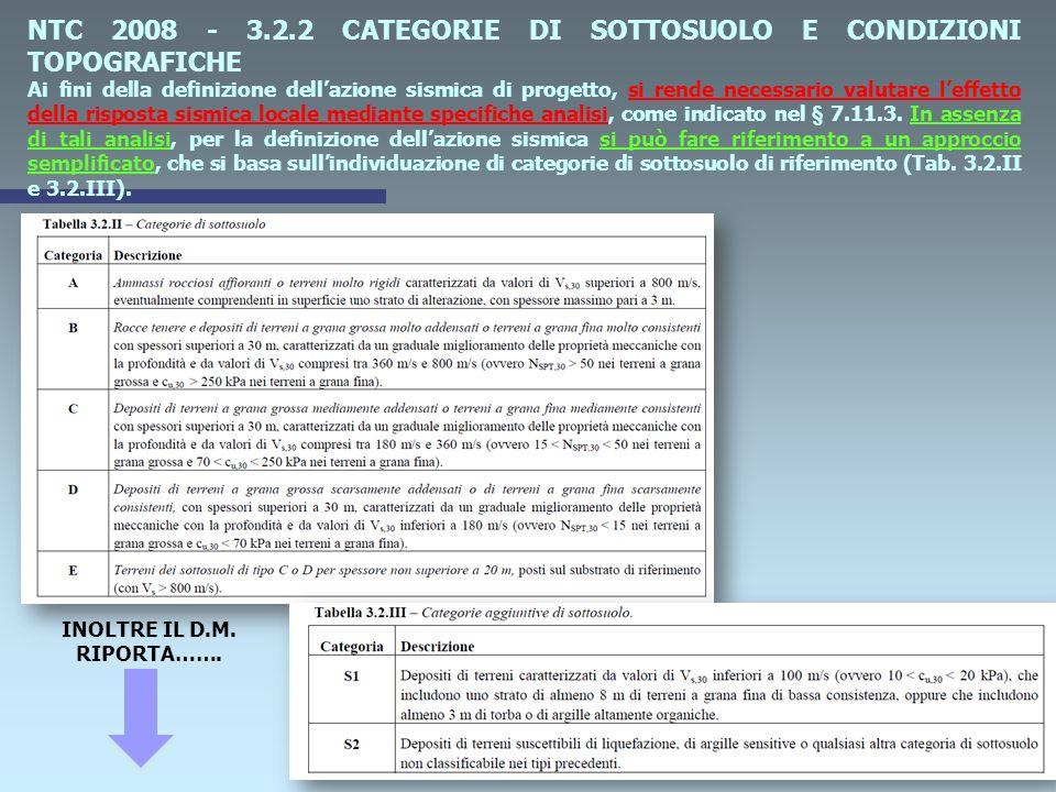 NTC 2008 - 3.2.2 CATEGORIE DI SOTTOSUOLO E CONDIZIONI TOPOGRAFICHE Ai fini della definizione dellazione sismica di progetto, si rende necessario valutare leffetto della risposta sismica locale mediante specifiche analisi, come indicato nel § 7.11.3.