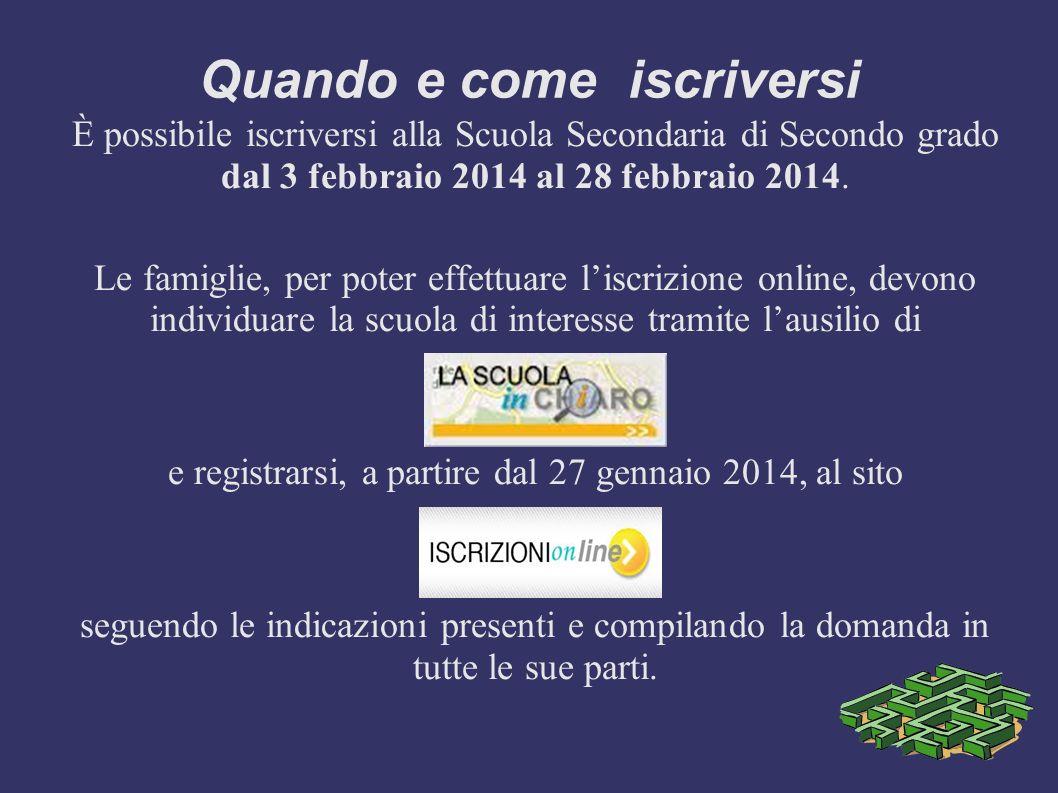 Quando e come iscriversi È possibile iscriversi alla Scuola Secondaria di Secondo grado dal 3 febbraio 2014 al 28 febbraio 2014. Le famiglie, per pote