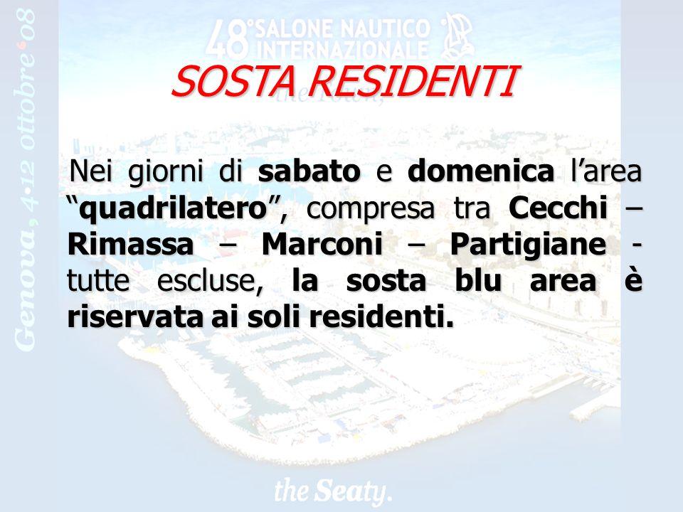 16 SOSTA RESIDENTI Nei giorni di sabato e domenica lareaquadrilatero, compresa tra Cecchi – Rimassa – Marconi – Partigiane - tutte escluse, la sosta blu area è riservata ai soli residenti.