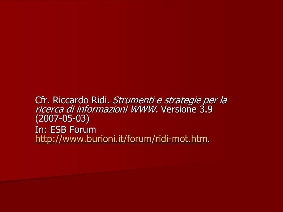 Cfr. Riccardo Ridi. Strumenti e strategie per la ricerca di informazioni WWW.