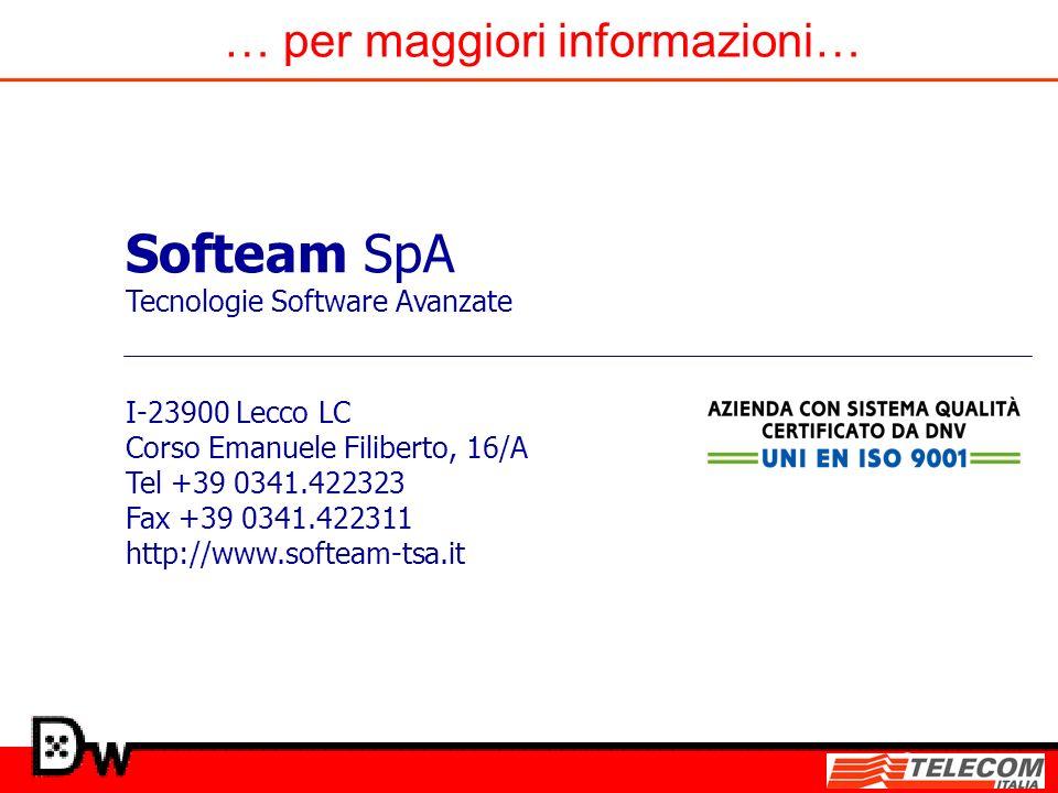 … per maggiori informazioni… Softeam SpA Tecnologie Software Avanzate I-23900 Lecco LC Corso Emanuele Filiberto, 16/A Tel +39 0341.422323 Fax +39 0341