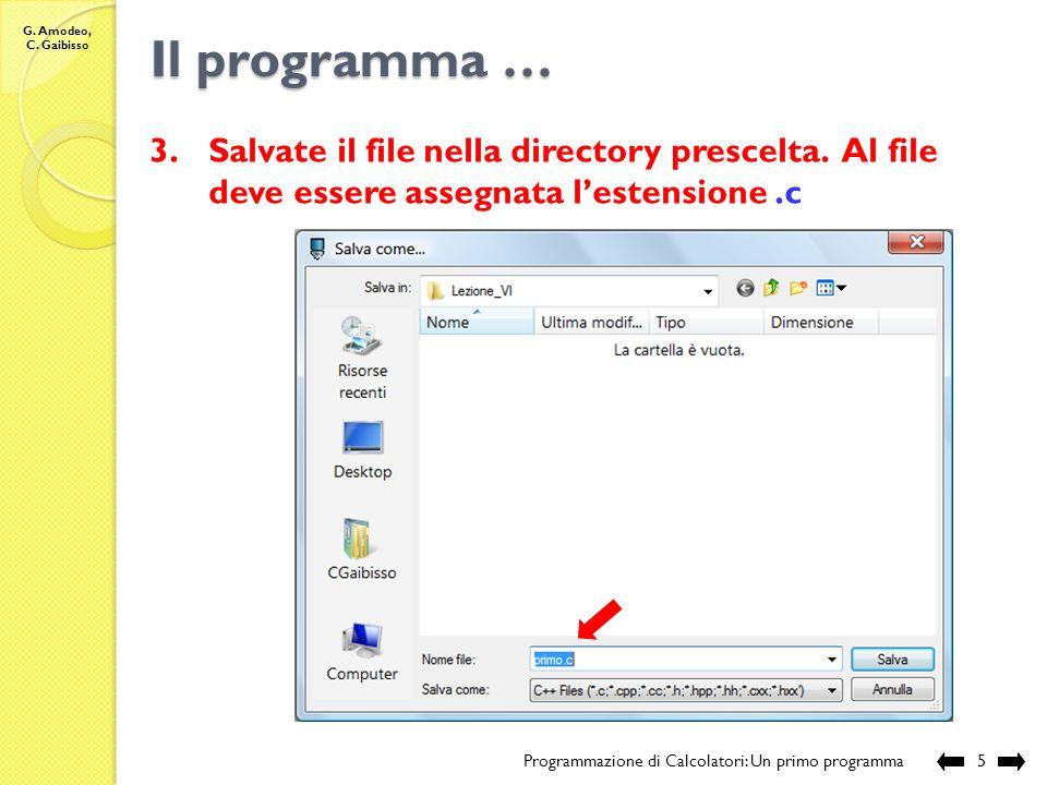 G. Amodeo, C. Gaibisso Il programma ….