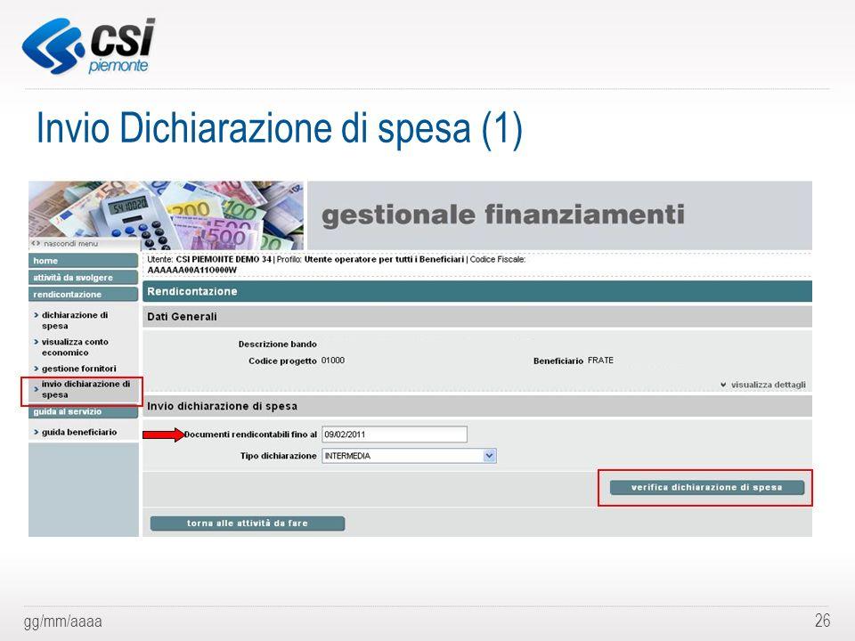 gg/mm/aaaa26 Invio Dichiarazione di spesa (1)