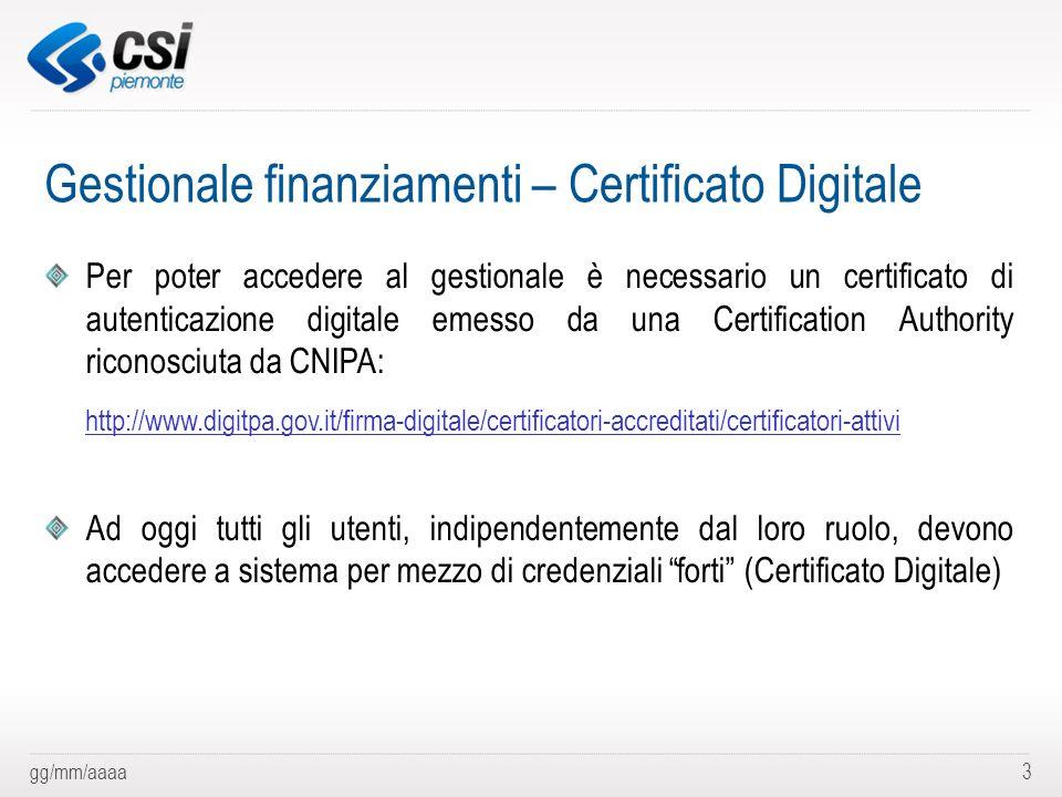 gg/mm/aaaa3 Gestionale finanziamenti – Certificato Digitale Per poter accedere al gestionale è necessario un certificato di autenticazione digitale em
