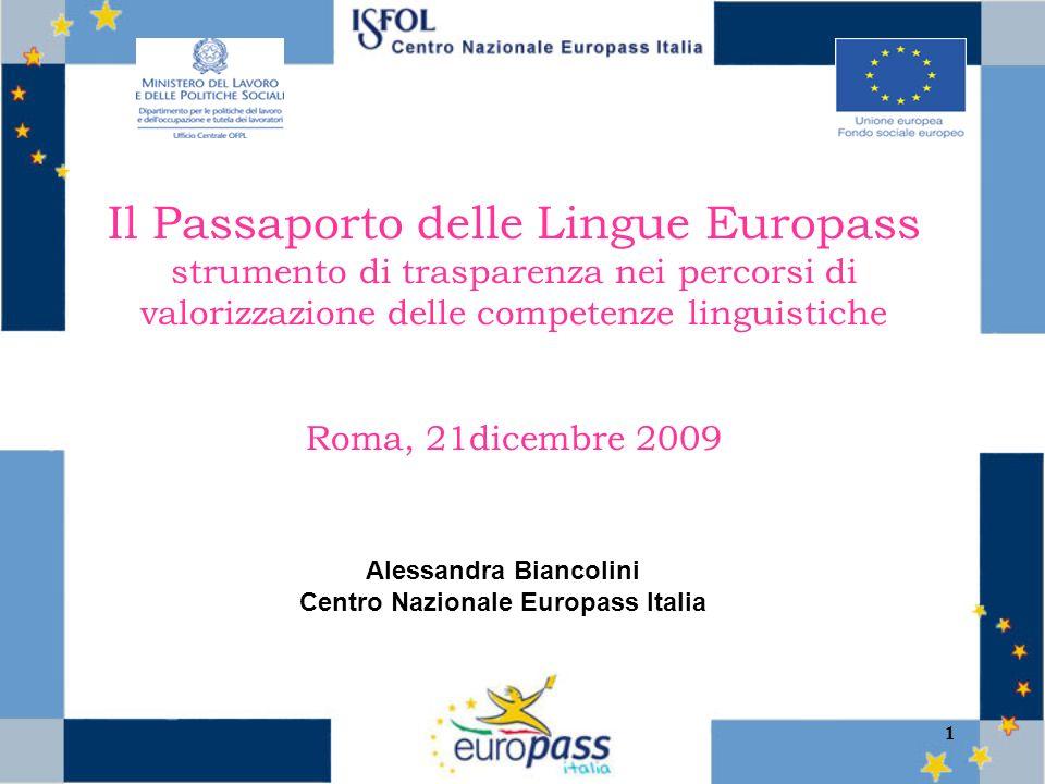 1 Il Passaporto delle Lingue Europass strumento di trasparenza nei percorsi di valorizzazione delle competenze linguistiche Roma, 21dicembre 2009 Alessandra Biancolini Centro Nazionale Europass Italia