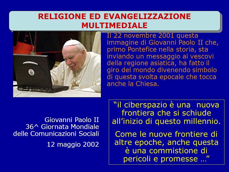 RELIGIONE ED EVANGELIZZAZIONE MULTIMEDIALE 2 il ciberspazio è una nuova frontiera che si schiude allinizio di questo millennio.