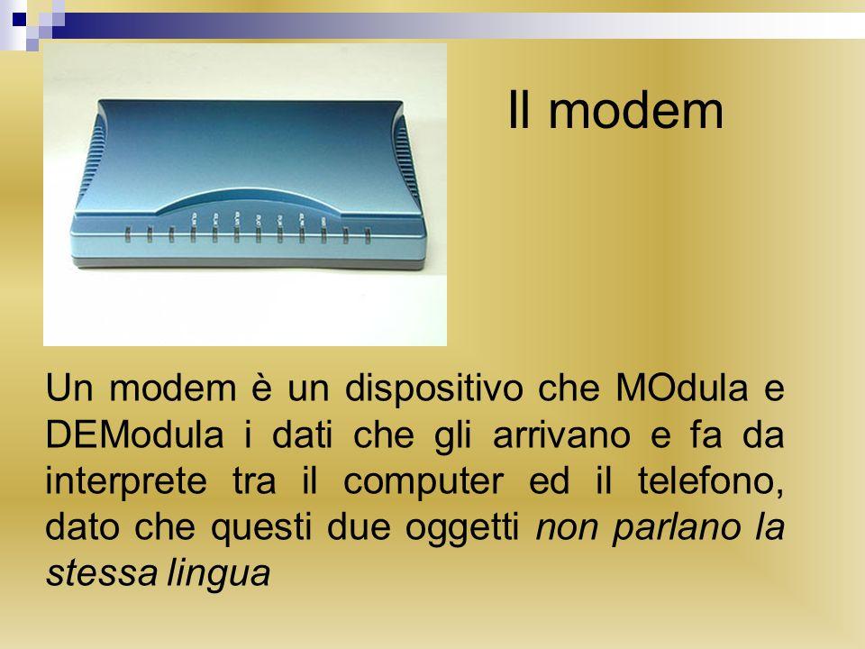 Il modem Un modem è un dispositivo che MOdula e DEModula i dati che gli arrivano e fa da interprete tra il computer ed il telefono, dato che questi due oggetti non parlano la stessa lingua