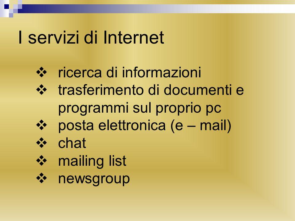 I servizi di Internet ricerca di informazioni trasferimento di documenti e programmi sul proprio pc posta elettronica (e – mail) chat mailing list newsgroup