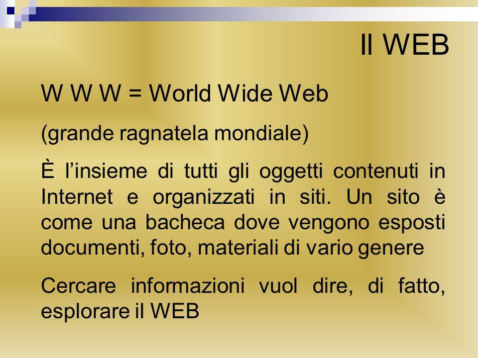 Il WEB W W W = World Wide Web (grande ragnatela mondiale) È linsieme di tutti gli oggetti contenuti in Internet e organizzati in siti. Un sito è come
