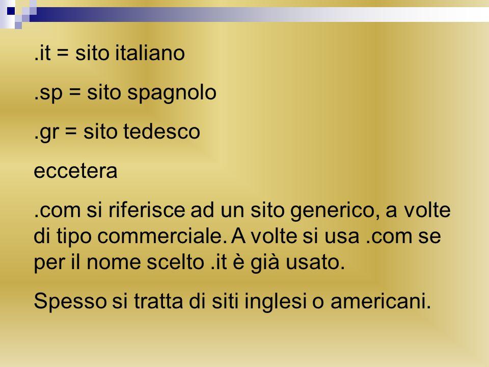 .it = sito italiano.sp = sito spagnolo.gr = sito tedesco eccetera.com si riferisce ad un sito generico, a volte di tipo commerciale. A volte si usa.co