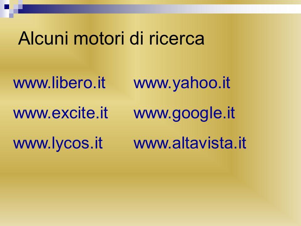 Alcuni motori di ricerca www.libero.itwww.yahoo.it www.excite.itwww.google.it www.lycos.itwww.altavista.it