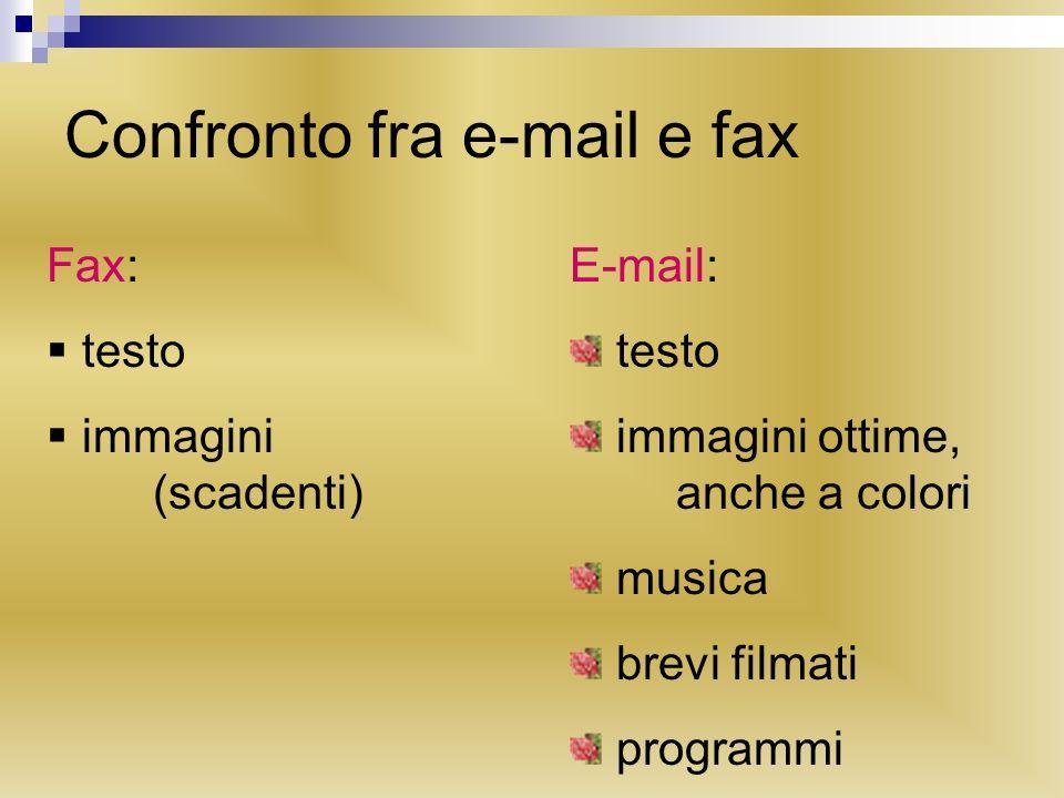 Confronto fra e-mail e fax Fax: testo immagini (scadenti) E-mail: testo immagini ottime, anche a colori musica brevi filmati programmi