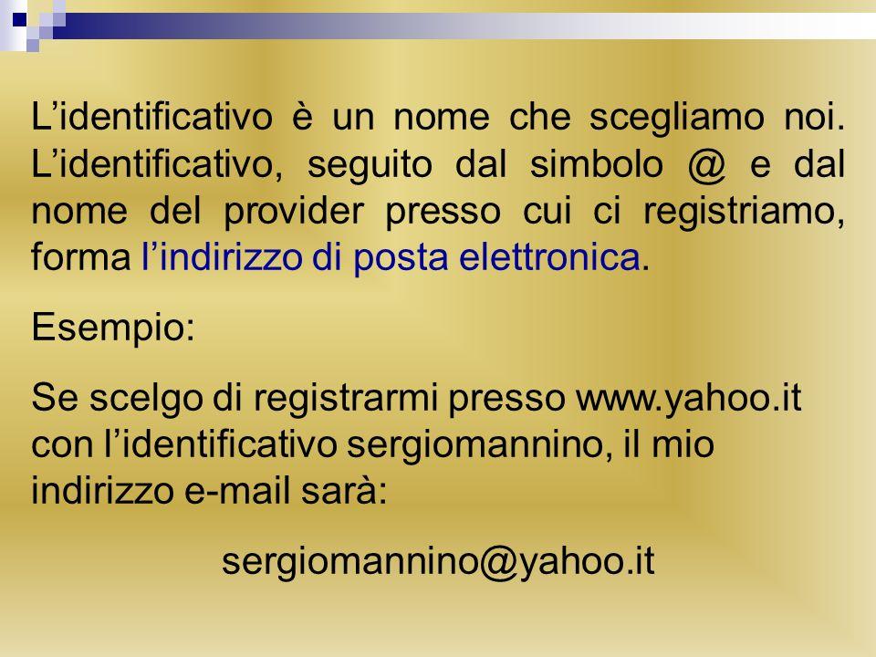 Lidentificativo è un nome che scegliamo noi. Lidentificativo, seguito dal simbolo @ e dal nome del provider presso cui ci registriamo, forma lindirizz