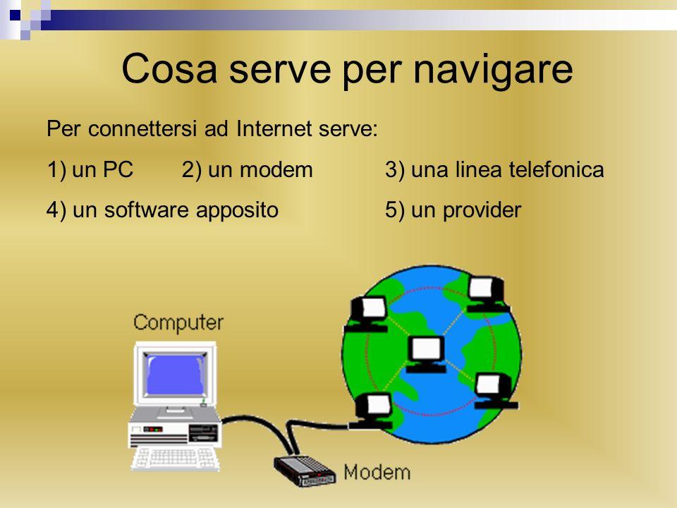 Cosè un provider Per collegarci ad Internet dobbiamo effettuare una chiamata telefonica, attraverso il modem, al numero di un computer che ci fornisca laccesso alla rete.