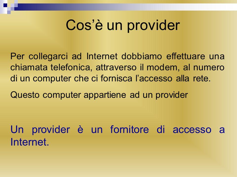 Struttura di Internet I computer dei provider si chiamano server, mentre i nostri prendono il nome di client.
