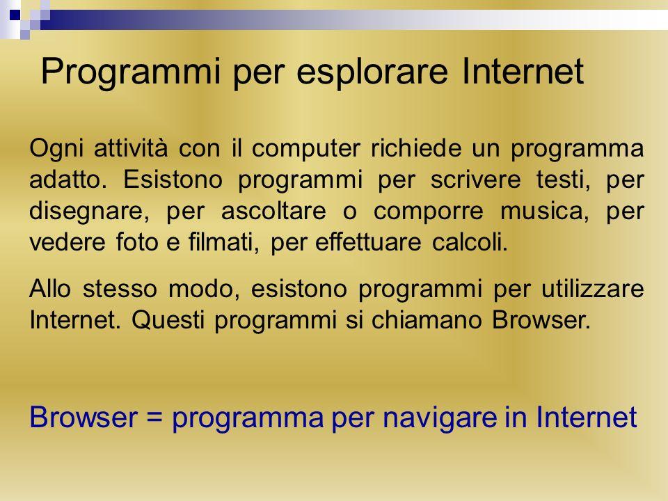 Programmi per esplorare Internet Ogni attività con il computer richiede un programma adatto. Esistono programmi per scrivere testi, per disegnare, per
