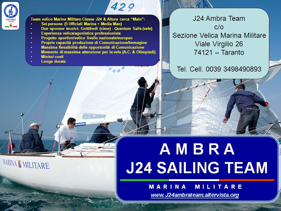 GRAZIE DELLATTENZIONE J24 Ambra Team c/o Sezione Velica Marina Militare Viale Virgilio 26 74121 – Taranto Tel. Cell. 0039 3498490893 Team velico Marin