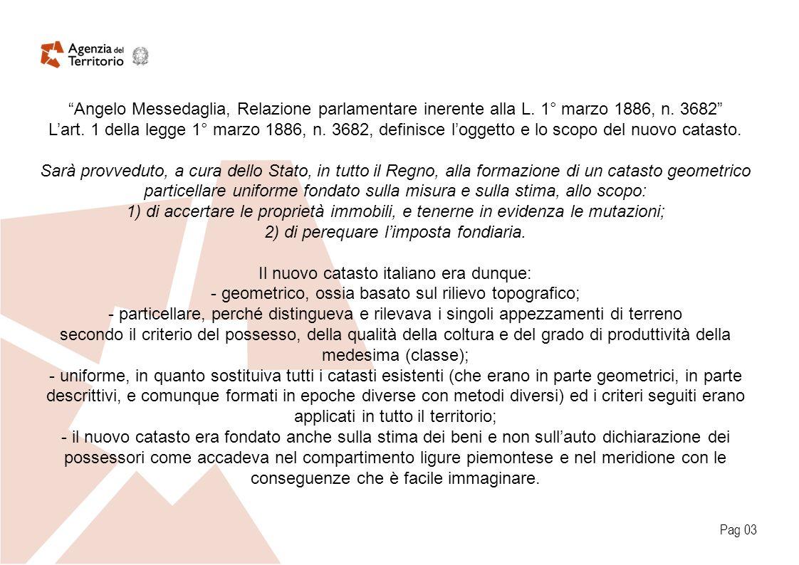 Angelo Messedaglia, Relazione parlamentare inerente alla L. 1° marzo 1886, n. 3682 Lart. 1 della legge 1° marzo 1886, n. 3682, definisce loggetto e lo