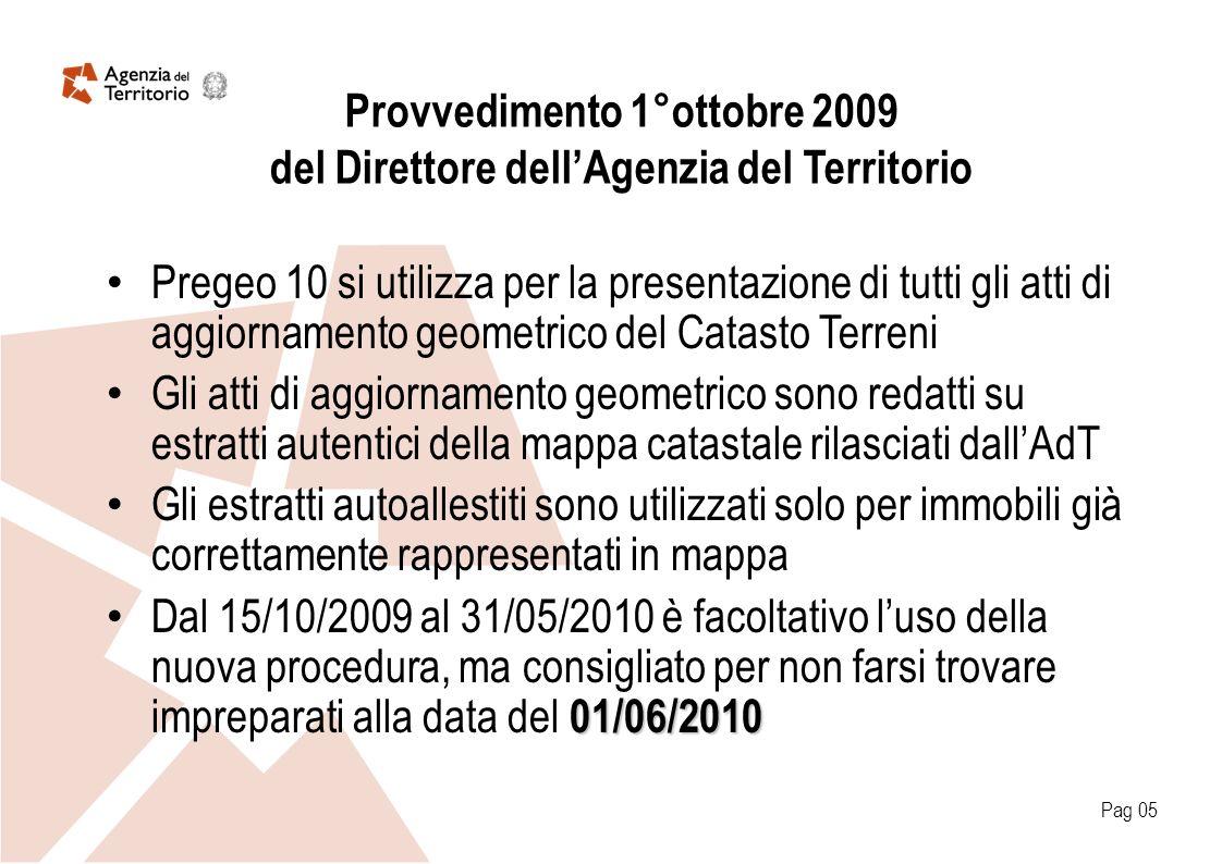 Provvedimento 1°ottobre 2009 del Direttore dellAgenzia del Territorio Pregeo 10 si utilizza per la presentazione di tutti gli atti di aggiornamento ge