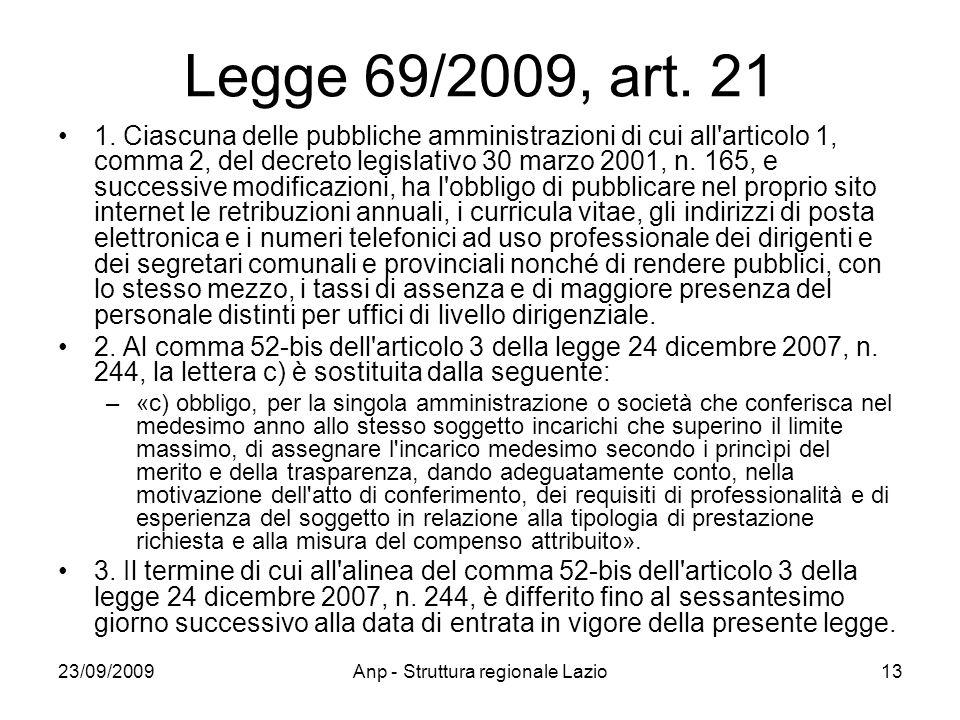 23/09/2009Anp - Struttura regionale Lazio13 Legge 69/2009, art. 21 1. Ciascuna delle pubbliche amministrazioni di cui all'articolo 1, comma 2, del dec