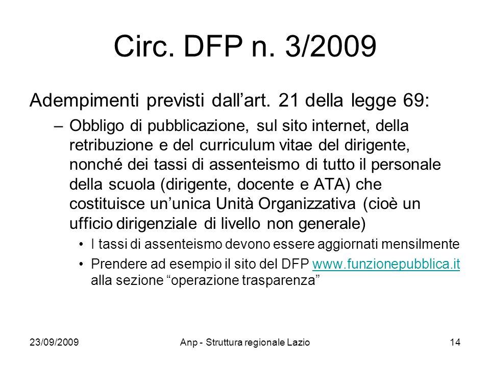23/09/2009Anp - Struttura regionale Lazio14 Circ. DFP n. 3/2009 Adempimenti previsti dallart. 21 della legge 69: –Obbligo di pubblicazione, sul sito i