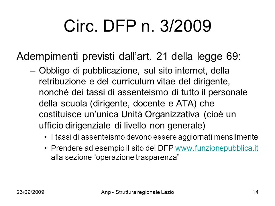 23/09/2009Anp - Struttura regionale Lazio14 Circ. DFP n.
