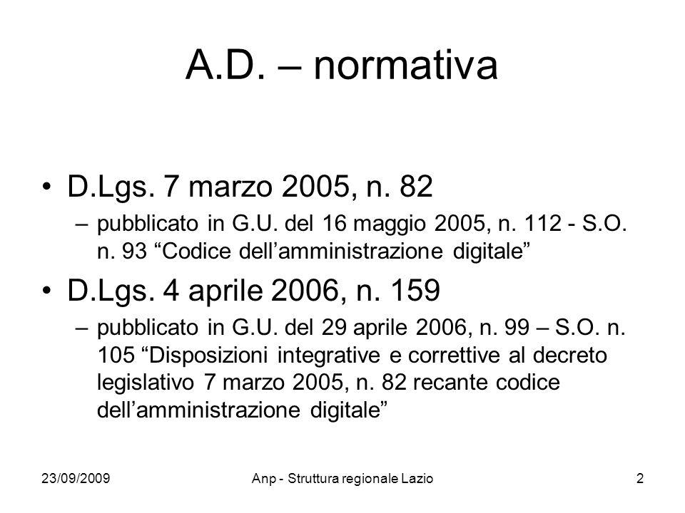 23/09/2009Anp - Struttura regionale Lazio2 A.D. – normativa D.Lgs. 7 marzo 2005, n. 82 –pubblicato in G.U. del 16 maggio 2005, n. 112 - S.O. n. 93 Cod