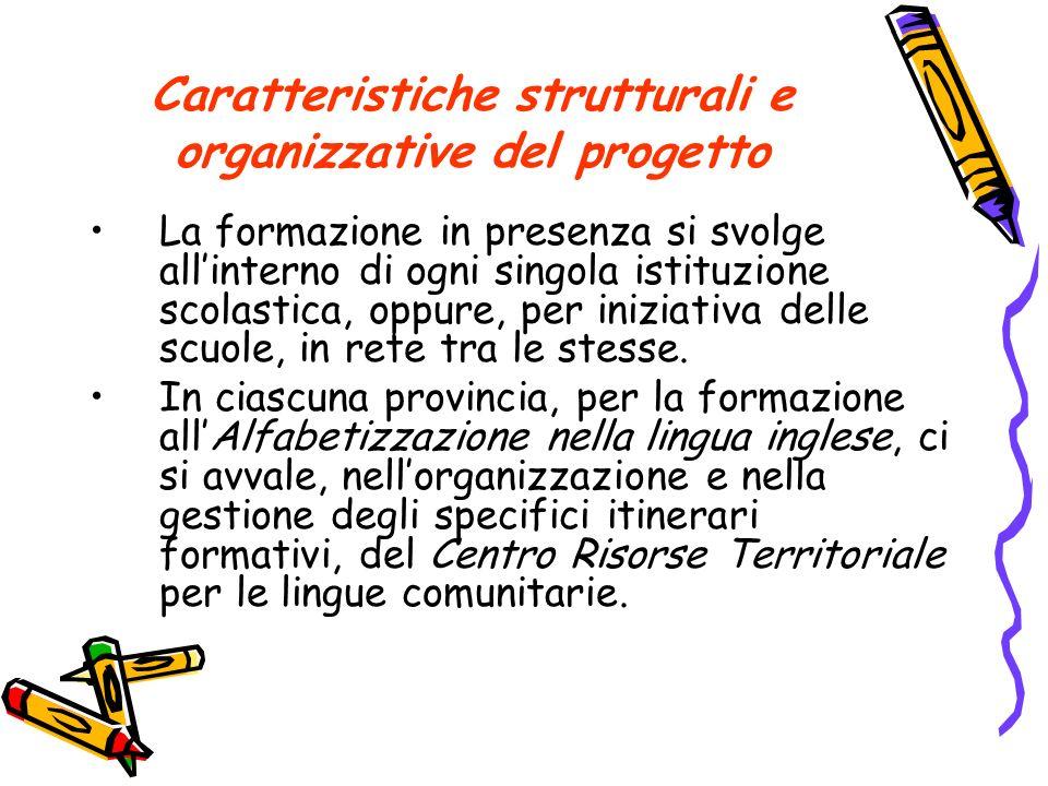 Caratteristiche strutturali e organizzative del progetto La formazione in presenza si svolge allinterno di ogni singola istituzione scolastica, oppure, per iniziativa delle scuole, in rete tra le stesse.