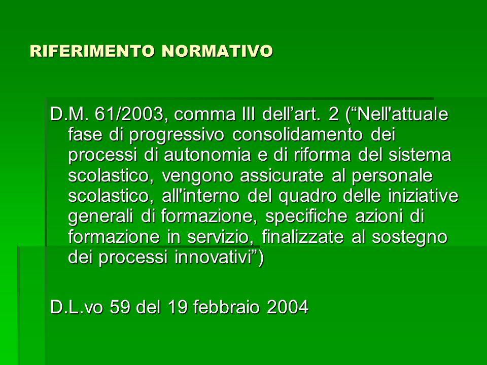 RIFERIMENTO NORMATIVO D.M. 61/2003, comma III dellart.