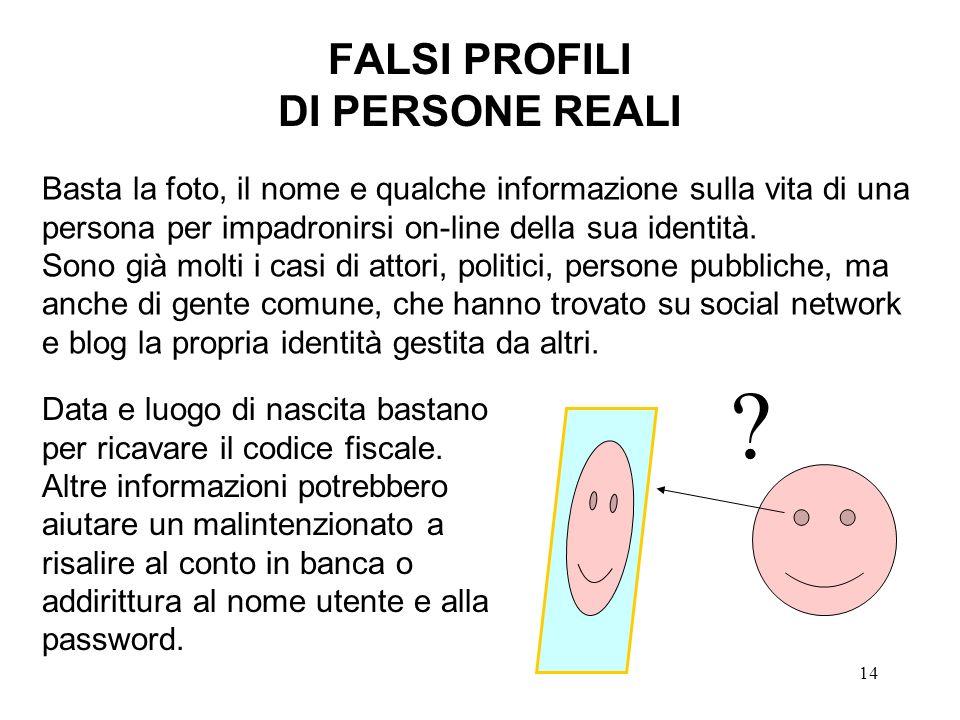 14 FALSI PROFILI DI PERSONE REALI Basta la foto, il nome e qualche informazione sulla vita di una persona per impadronirsi on-line della sua identità.