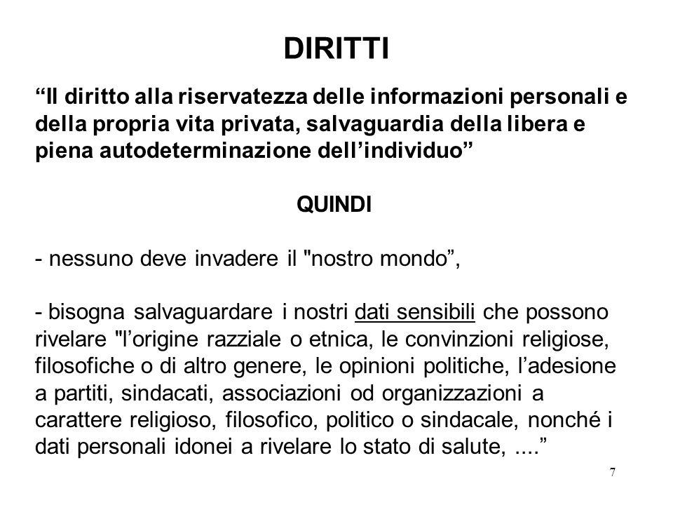 7 DIRITTI Il diritto alla riservatezza delle informazioni personali e della propria vita privata, salvaguardia della libera e piena autodeterminazione