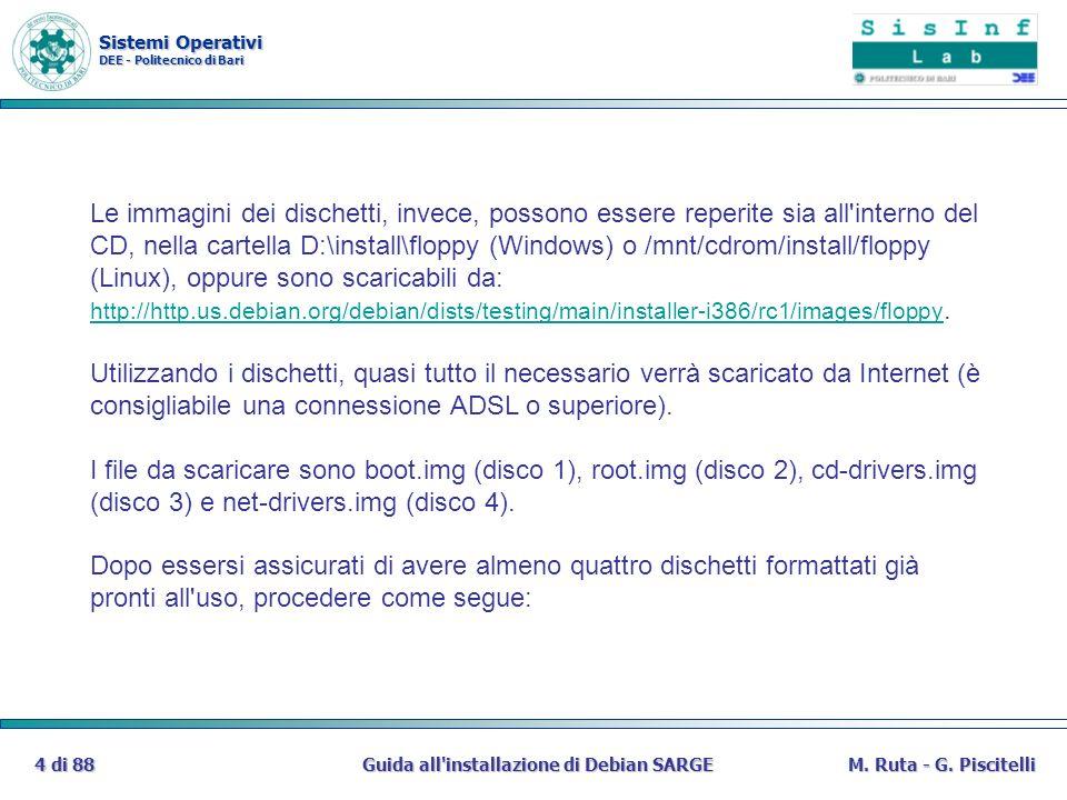 Sistemi Operativi DEE - Politecnico di Bari Guida all'installazione di Debian SARGE4 di 88M. Ruta - G. Piscitelli Le immagini dei dischetti, invece, p