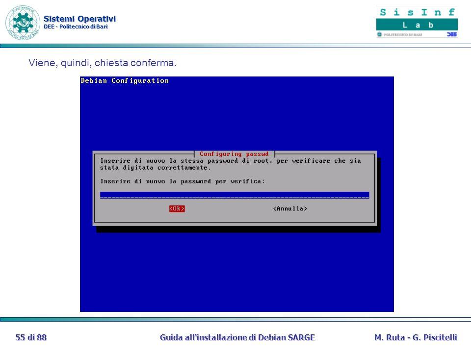 Sistemi Operativi DEE - Politecnico di Bari Guida all'installazione di Debian SARGE55 di 88M. Ruta - G. Piscitelli Viene, quindi, chiesta conferma.