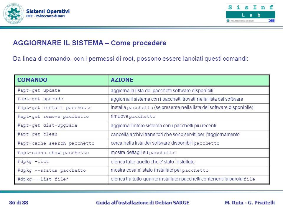 Sistemi Operativi DEE - Politecnico di Bari Guida all'installazione di Debian SARGE86 di 88M. Ruta - G. Piscitelli COMANDOAZIONE #apt-get update aggio