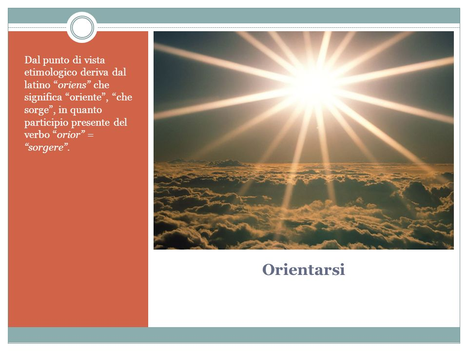 Orientarsi Dal punto di vista etimologico deriva dal latino oriens che significa oriente, che sorge, in quanto participio presente del verbo orior = sorgere.