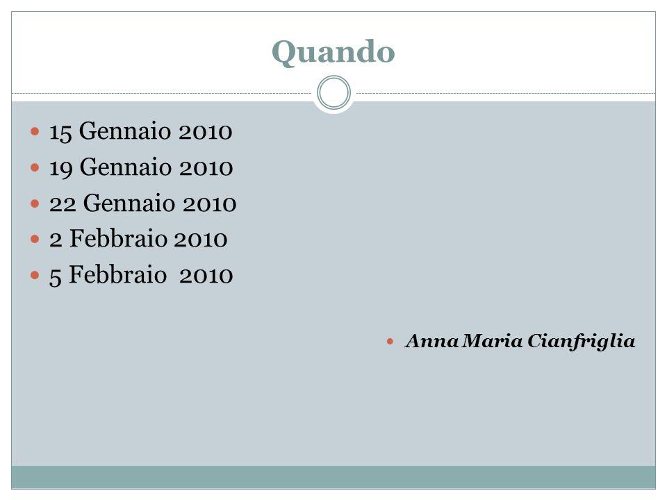 Quando 15 Gennaio 2010 19 Gennaio 2010 22 Gennaio 2010 2 Febbraio 2010 5 Febbraio 2010 Anna Maria Cianfriglia