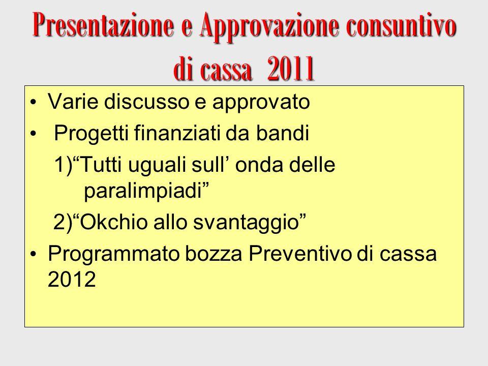 Presentazione e Approvazione consuntivo di cassa 2011 Varie discusso e approvato Progetti finanziati da bandi 1)Tutti uguali sull onda delle paralimpi