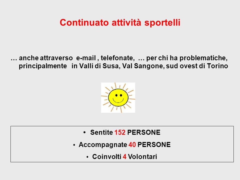 Continuato attività sportelli … anche attraverso e-mail, telefonate, … per chi ha problematiche, principalmente in Valli di Susa, Val Sangone, sud ovest di Torino Sentite 152 PERSONE Accompagnate 40 PERSONE Coinvolti 4 Volontari