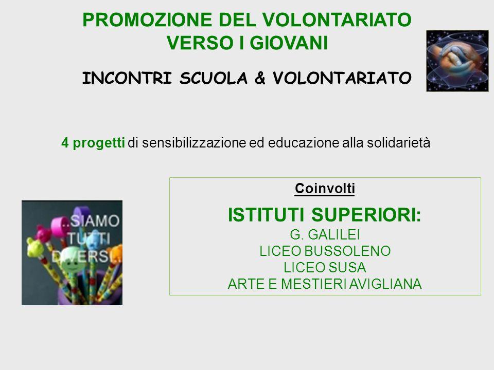 PROMOZIONE DEL VOLONTARIATO VERSO I GIOVANI INCONTRI SCUOLA & VOLONTARIATO 4 progetti di sensibilizzazione ed educazione alla solidarietà Coinvolti ISTITUTI SUPERIORI: G.