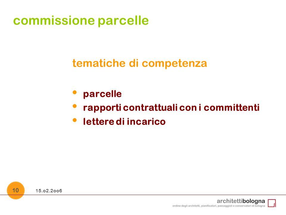 15.o2.2oo6 10 commissione parcelle tematiche di competenza parcelle rapporti contrattuali con i committenti lettere di incarico