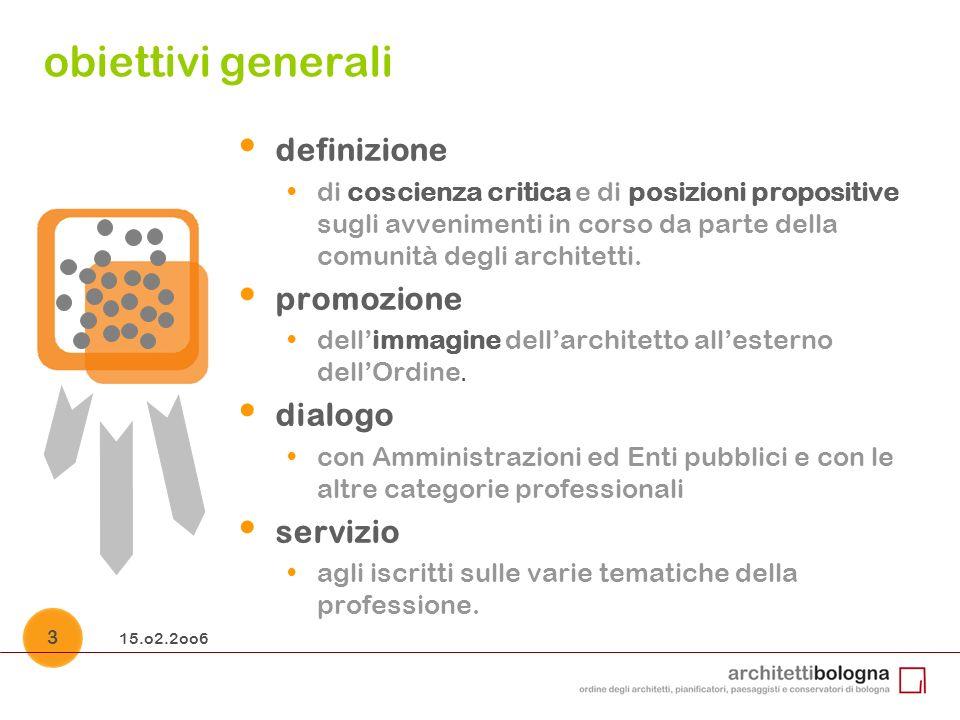 15.o2.2oo6 4 linee guida le Commissioni e i Gruppi di lavoro sono organi operativi istituiti per condurre le attività dellOrdine nei vari settori di interesse degli iscritti ed a servizio di questi.