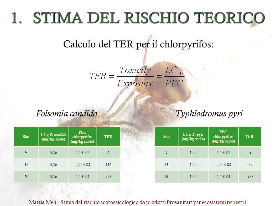 1.STIMA DEL RISCHIO TEORICO Sito LC 50 F. candida (mg/kg suolo) PEC chlorpyrifos (mg/kg suolo) TER V 0,264,5 E-026 D 0,262,25 E-03116 N 0,264,5 E-0457